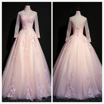 Princess Formal Pink Ball Gown Long Sleeves Natural Waist Beading Appliques Prom Dresses 2020