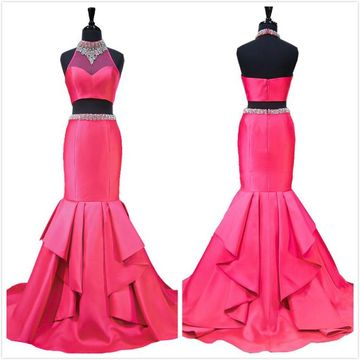 Formal Gorgeous Hot Pink Trumpet/Mermaid Natural Waist Ruffles Beading Prom Dresses 2019 High Neck
