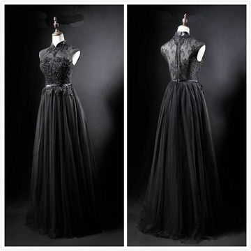 Formal Black A-line Sleeveless Natural Waist Prom Dresses 2020 Floor-length