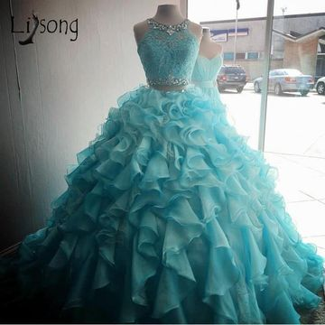 Elegant Princess Blue Ball Gown Sleeveless Natural Waist Beading Prom Dresses 2020