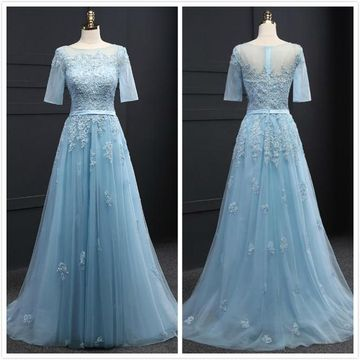 Elegant Formal Blue A-line Short Sleeves Natural Waist Appliques Prom Dresses 2020