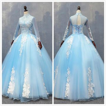 Elegant Princess Blue Ball Gown Long Sleeves Natural Waist Appliques Prom Dresses 2020