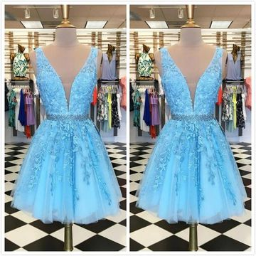 Cute Blue Sleeveless Natural Waist Beading Appliques Prom Dresses 2019 Short/Mini