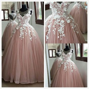 Elegant Princess Formal Pink Ball Gown Sleeveless Natural Waist Prom Dresses 2019 Floor-length