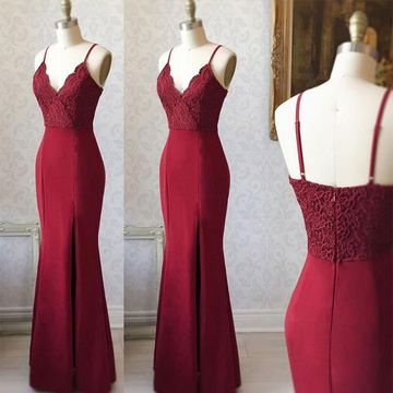 Elegant Sexy Burgundy Trumpet/Mermaid Sleeveless Natural Waist Appliques Split Prom Dresses 2019