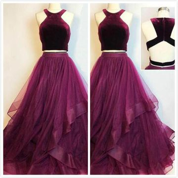 Burgundy Velvet Two Piece Long Layered Prom Dress 2019