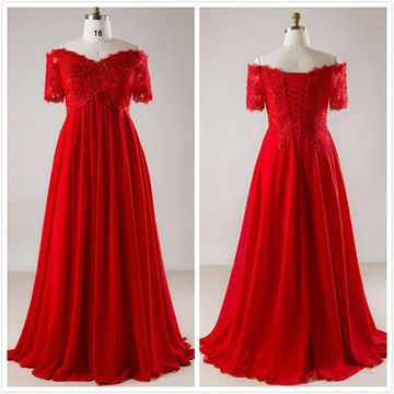 Plus Size Formal Red A-line Short Sleeves Natural Waist Appliques Sequins Prom Dresses 2019