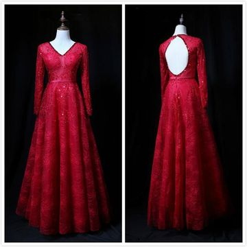 Formal Red A-line Long Sleeves Natural Waist Sequins Prom Dresses 2020