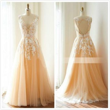 Elegant Beige/Champagne A-line Sleeveless Natural Waist Buttons Appliques Prom Dresses 2019