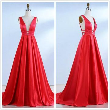 Simple Gorgeous Red A-line Sleeveless Natural Waist Prom Dresses 2020 Sweep/Brush Train