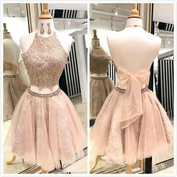 Cute Sexy A-line Sleeveless Natural Waist Prom Dresses 2019 Short/Mini Round Neck