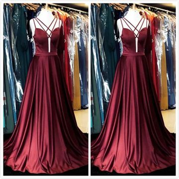 Sexy Burgundy A-line Sleeveless Natural Waist Prom Dresses 2019 Court Train