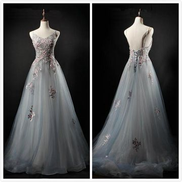 Elegant Formal Gorgeous Gray A-line Sleeveless Natural Waist Appliques Prom Dresses 2019