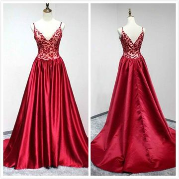 Formal Red A-line Sleeveless Natural Waist Appliques Prom Dresses 2020