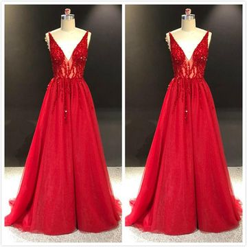 Formal Gorgeous Red A-line Sleeveless Natural Waist Crystal Detailing Sequins Prom Dresses 2019
