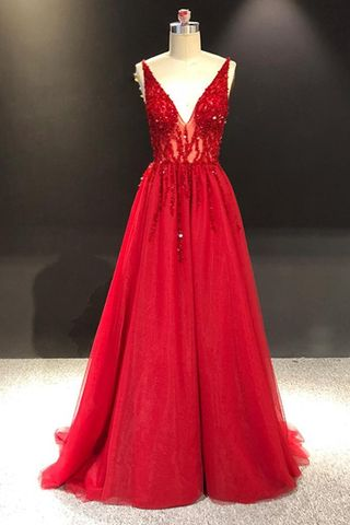9c6d56fe Formal Gorgeous Red A-line Sleeveless Natural Waist Crystal Detailing  Sequins Prom Dresses 2019