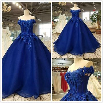Elegant Royal Blue Ball Gown Cap Sleeves Natural Waist Beading Appliques Prom Dresses 2020