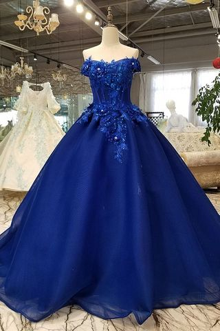 49 Off Elegant Royal Blue Ball Gown Cap Sleeves Natural