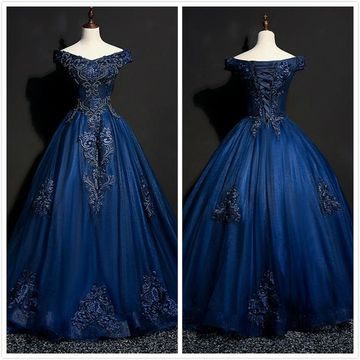 6fb00a69d49 49%OFF Elegant Princess Gorgeous Navy Ball Gown Cap Sleeves Natural ...