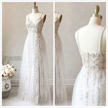 Simple White A-line Sleeveless Natural Waist Prom Dresses 2019 Floor-length