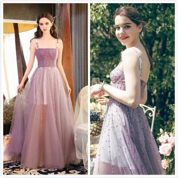 Gorgeous Purple A-line Sleeveless Natural Waist Beading Prom Dresses 2019
