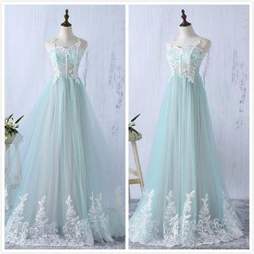 Gorgeous Mint Green A-line Sleeveless Natural Waist Prom Dresses 2020 Floor-length