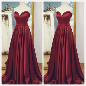 Simple Burgundy A-line Sleeveless Natural Waist Pleats Beading Prom Dresses 2019