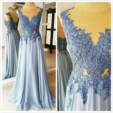 Gorgeous Light Sky Blue A-line Sleeveless Natural Waist Sequins Prom Dresses 2019