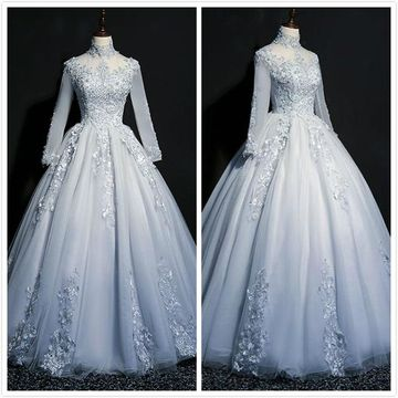Formal Light Sky Blue Ball Gown Long Sleeves Natural Waist Beading Appliques Prom Dresses 2020