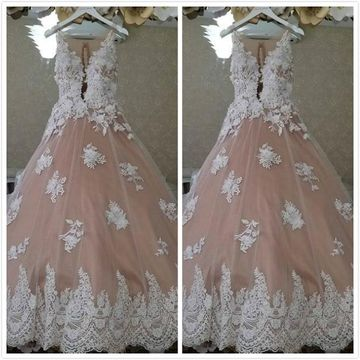 Elegant Pearl Pink A-line Sleeveless Natural Waist Appliques Prom Dresses 2019