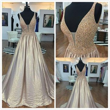 Elegant Silver A-line Sleeveless Natural Waist Beading Prom Dresses 2019