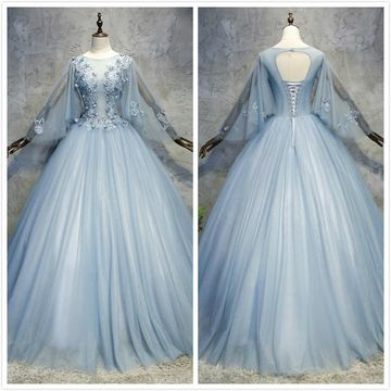 Elegant Princess Blue Ball Gown Long Sleeves Natural Waist Buttons Appliques Prom Dresses 2019