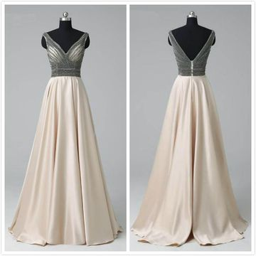 Formal Beige/Champagne A-line Sleeveless Natural Waist Crystal Detailing Beading Prom Dresses 2019