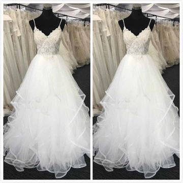 Elegant White A-line Sleeveless Natural Waist Prom Dresses 2019 Sweep/Brush Train