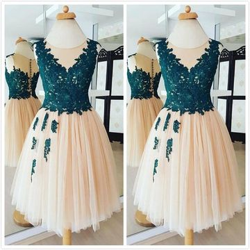Beige/Champagne Ball Gown Sleeveless Natural Waist Appliques Prom Dresses 2019 Short/Mini