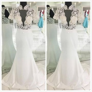 Gorgeous White Trumpet/Mermaid Short Sleeves Natural Waist Prom Dresses 2019 Sweep/Brush Train