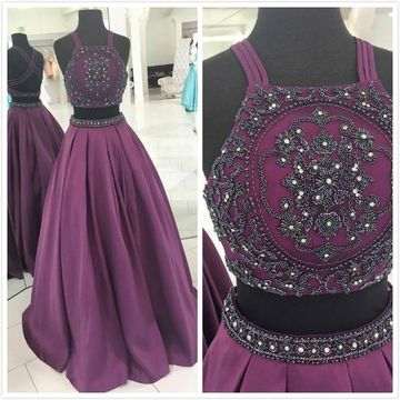 Formal Purple Sleeveless Natural Waist Beading Prom Dresses 2019 Floor-length