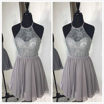 Simple Cute Gray A-line Sleeveless Natural Waist Ruched Prom Dresses 2019