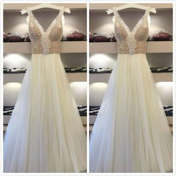 Formal Gorgeous Gray A-line Sleeveless Natural Waist Appliques Prom Dresses 2019