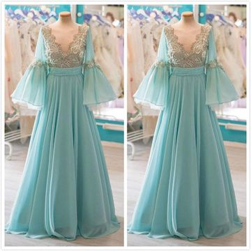 Elegant Formal Gorgeous Green A-line Long Sleeves Natural Waist Beading Appliques Prom Dresses 2019