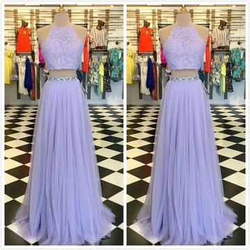 Elegant Formal Gorgeous Lavender A-line Sleeveless Natural Waist Beading Sequins Prom Dresses 2020