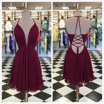 Simple Sexy Burgundy A-line Sleeveless Natural Waist Prom Dresses 2020 Knee-length