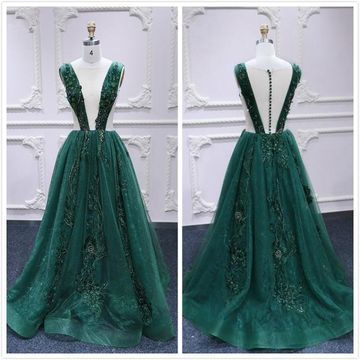 Sexy Dark Green A-line Sleeveless Natural Waist Appliques Sequins Prom Dresses 2019