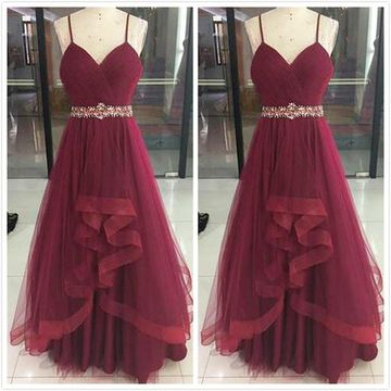 Formal Gorgeous Burgundy A-line Sleeveless Natural Waist Ruffles Beading Prom Dresses 2019