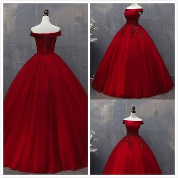 Elegant Formal Red Ball Gown Short Sleeves Natural Waist Appliques Sequins Prom Dresses 2020