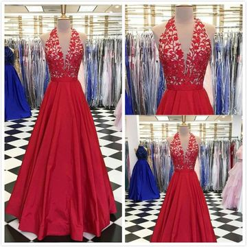 Gorgeous Red A-line Sleeveless Natural Waist Appliques Prom Dresses 2019