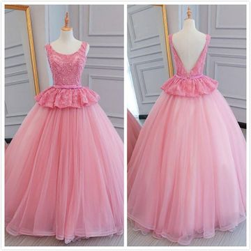 Princess Formal Pink Ball Gown Sleeveless Natural Waist Crystal Detailing Appliques Bow Pearl Detailing Sash/Ribbon Prom Dresses 2019
