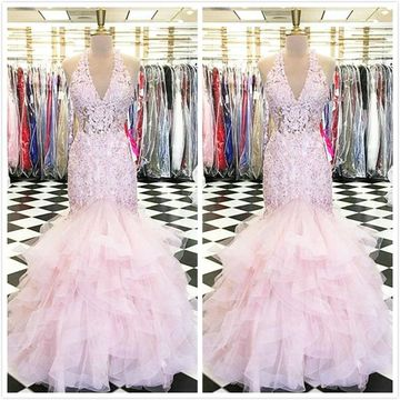 Sexy Light Pink Trumpet/Mermaid Sleeveless Natural Waist Beading Prom Dresses 2020