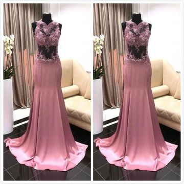 Sexy Formal Pink Trumpet/Mermaid Sleeveless Natural Waist Prom Dresses 2019 Sweep/Brush Train