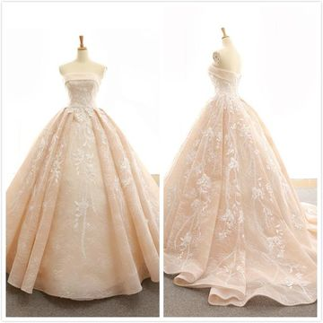 Elegant Formal Nude Ball Gown Sleeveless Natural Waist Appliques Prom Dresses 2019